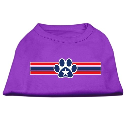 Patriotic Star Paw Screen Print Pet Shirt - Purple | The Pet Boutique