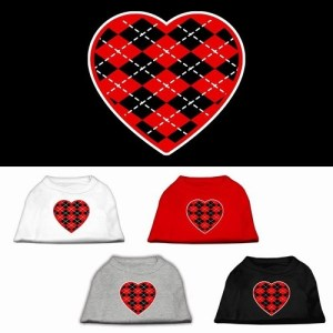 Red Argyle Heart Screen Print Pet Shirt | The Pet Boutique