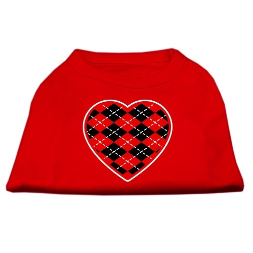 Red Argyle Heart Screen Print Pet Shirt - Red | The Pet Boutique