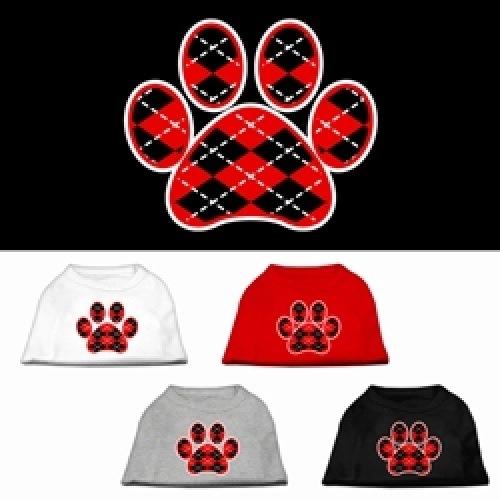 Red Argyle Paw Screen Print Pet Shirt | The Pet Boutique