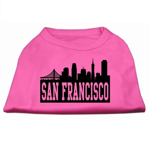 San Francisco Skyline Screen Print Pet Shirt - Bright Pink | The Pet Boutique