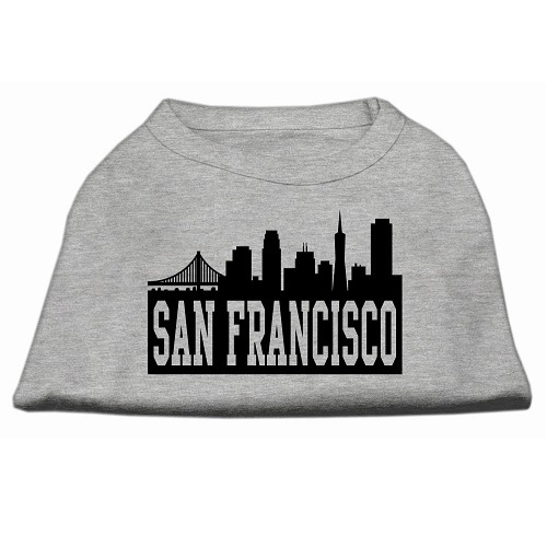 San Francisco Skyline Screen Print Pet Shirt - Grey | The Pet Boutique