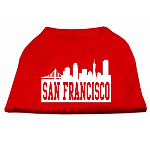 San Francisco Skyline Screen Print Pet Shirt - Red | The Pet Boutique