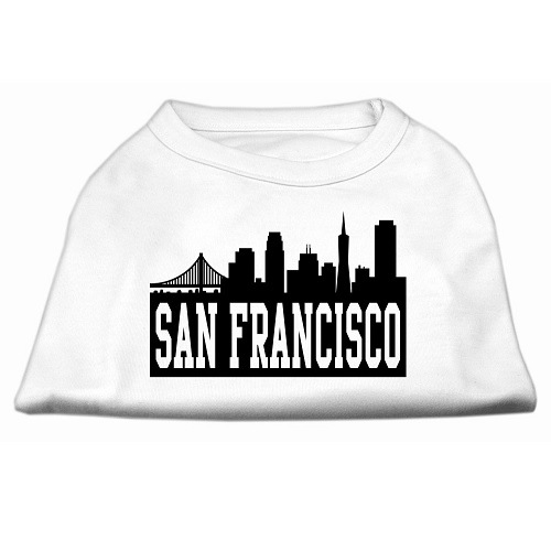 San Francisco Skyline Screen Print Pet Shirt - White | The Pet Boutique