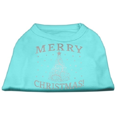 Shimmer Christmas Tree Screen Print Pet Shirt - Aqua | The Pet Boutique