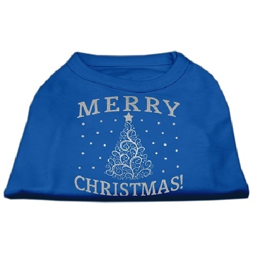 Shimmer Christmas Tree Screen Print Pet Shirt - Blue | The Pet Boutique