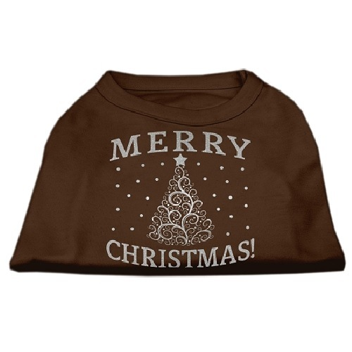 Shimmer Christmas Tree Screen Print Pet Shirt - Brown | The Pet Boutique