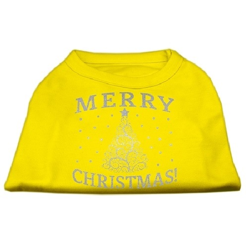 Shimmer Christmas Tree Screen Print Pet Shirt - Yellow | The Pet Boutique