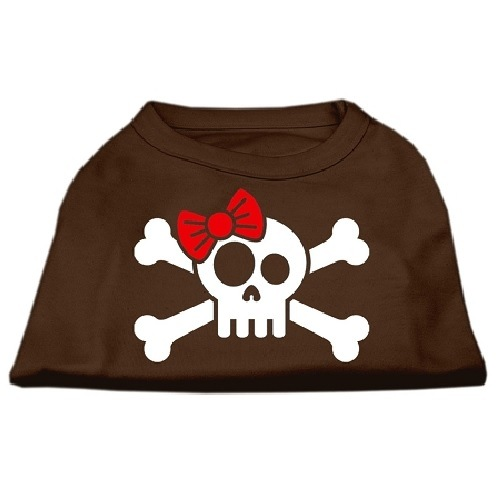 Skull, Crossbones, and Bow Screen Print Pet Shirt - Brown | The Pet Boutique
