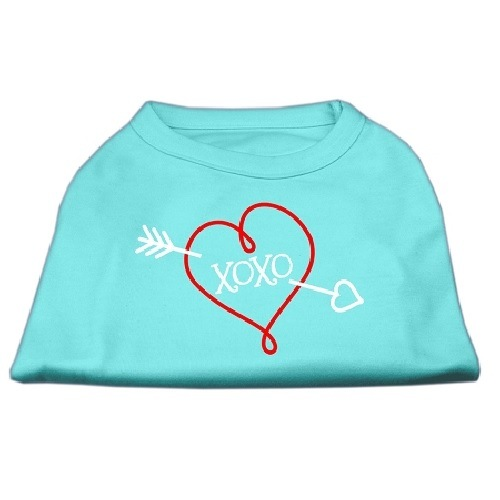 XOXO Screen Print Pet Shirt - Aqua | The Pet Boutique