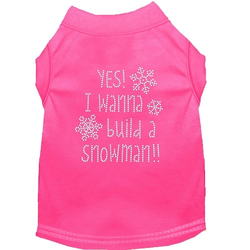 Yes! I Wanna Build A Snowman Rhinestone Dog Shirt - Bright Pink | The Pet Boutique