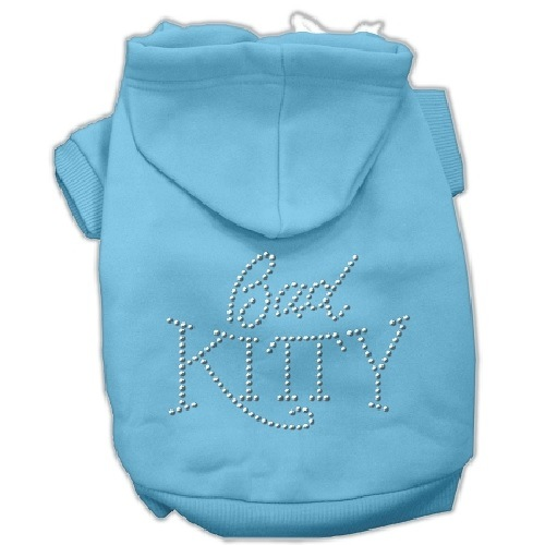 Bad Kitty Rhinestud Pet Hoodie - Baby Blue | The Pet Boutique