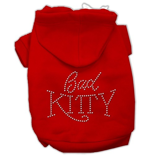 Bad Kitty Rhinestud Pet Hoodie - Red | The Pet Boutique