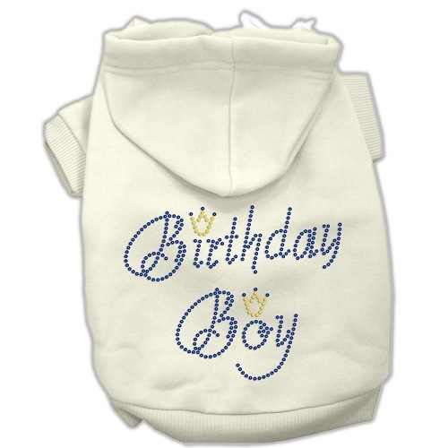 Birthday Boy Rhinestone Pet Hoodie - Cream | The Pet Boutique
