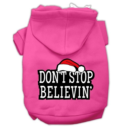 Don't Stop Believin' Screen Print Pet Hoodie - Bright Pink | The Pet Boutique