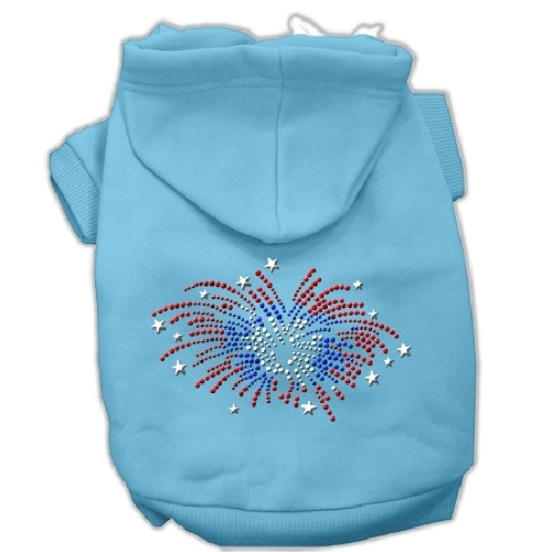 Fireworks Rhinestone Pet Hoodie - Baby Blue   The Pet Boutique