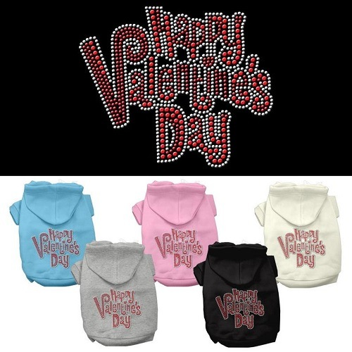 Happy Valentine's Day Rhinestone Pet Hoodie | The Pet Boutique