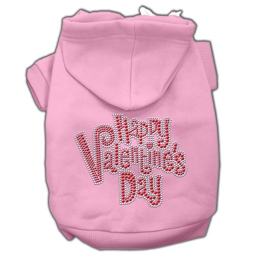 Happy Valentine's Day Rhinestone Pet Hoodie - Pink | The Pet Boutique