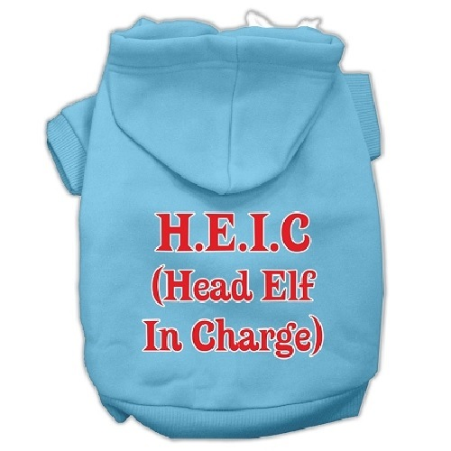 Head Elf In Charge Screen Print Pet Hoodie - Baby Blue | The Pet Boutique