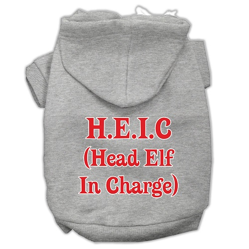 Head Elf In Charge Screen Print Pet Hoodie - Grey | The Pet Boutique