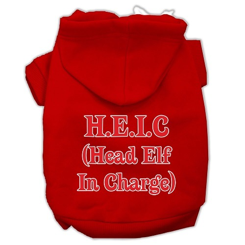 Head Elf In Charge Screen Print Pet Hoodie - Red | The Pet Boutique