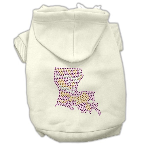 Louisiana Rhinestone Pet Hoodie - Cream | The Pet Boutique