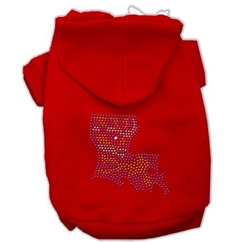 Louisiana Rhinestone Pet Hoodie - Red | The Pet Boutique