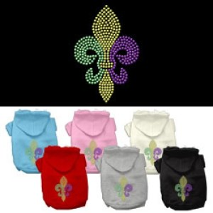 Mardi Gras Fleur de Lis Rhinestone Pet Hoodie | The Pet Boutique