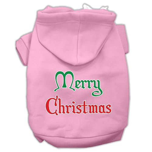 Merry Christmas Screen Print Pet Hoodie - Light Pink | The Pet Boutique