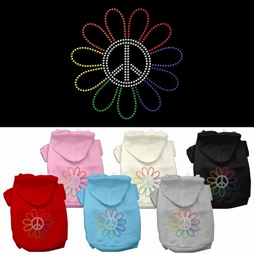Rhinestone Rainbow Flower Peace Sign Pet Hoodie | The Pet Boutique