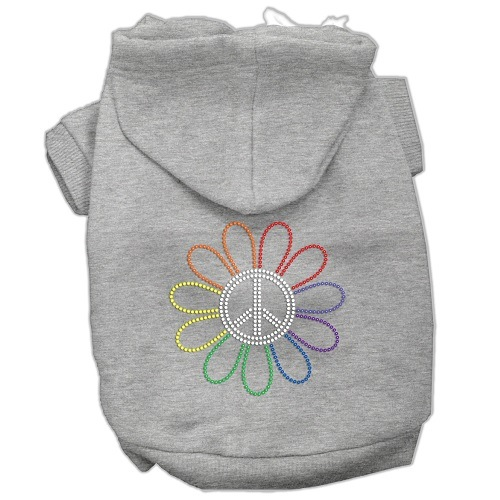 Rhinestone Rainbow Flower Peace Sign Pet Hoodie - Grey | The Pet Boutique