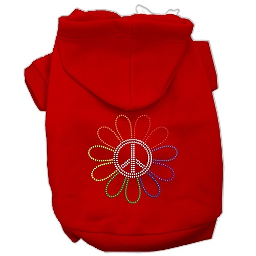 Rhinestone Rainbow Flower Peace Sign Pet Hoodie - Red | The Pet Boutique