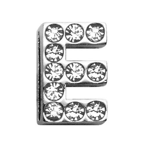 18mm Clear Crystal Letter Sliding Collar Charm - E | The Pet Boutique