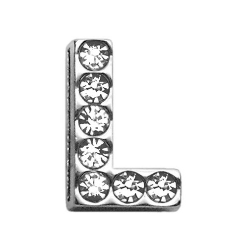 18mm Clear Crystal Letter Sliding Collar Charm - L | The Pet Boutique
