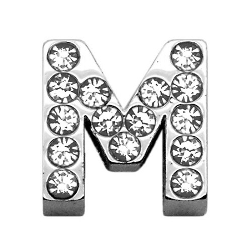 18mm Clear Crystal Letter Sliding Collar Charm - M | The Pet Boutique
