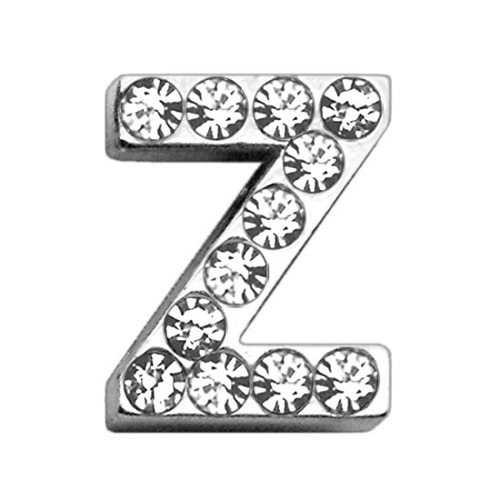 18mm Clear Crystal Letter Sliding Collar Charm - Z | The Pet Boutique