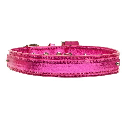 18mm Metallic Two-Tier Dog Collar - Pink | The Pet Boutique