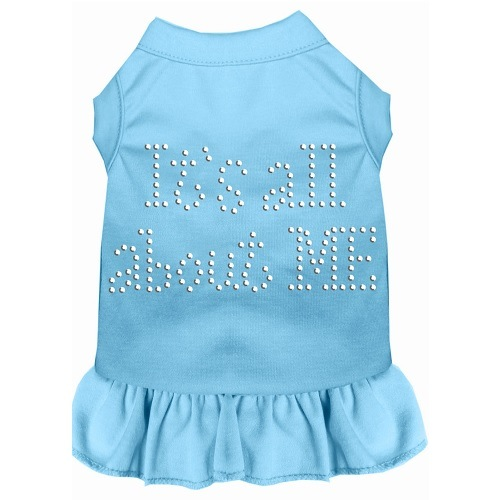 All About Me Rhinestone Pet Dress - Baby Blue | The Pet Boutique