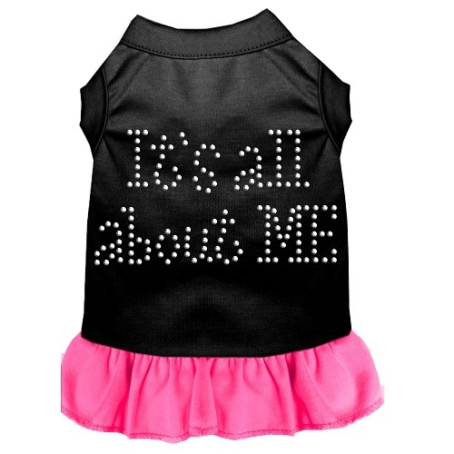 All About Me Rhinestone Pet Dress - Black with Bright Pink | The Pet Boutique