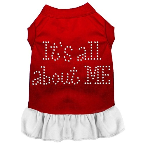 All About Me Rhinestone Pet Dress - Red with White | The Pet Boutique