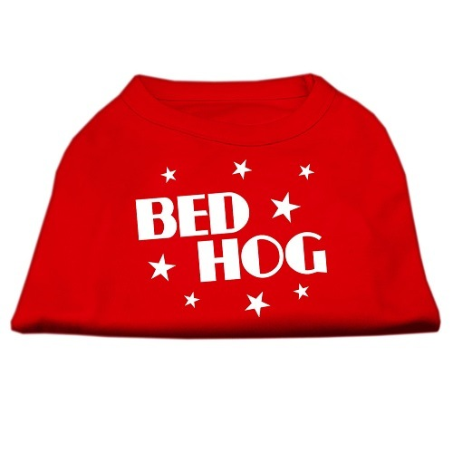Bed Hog Screen Print Dog Shirt - Red | The Pet Boutique