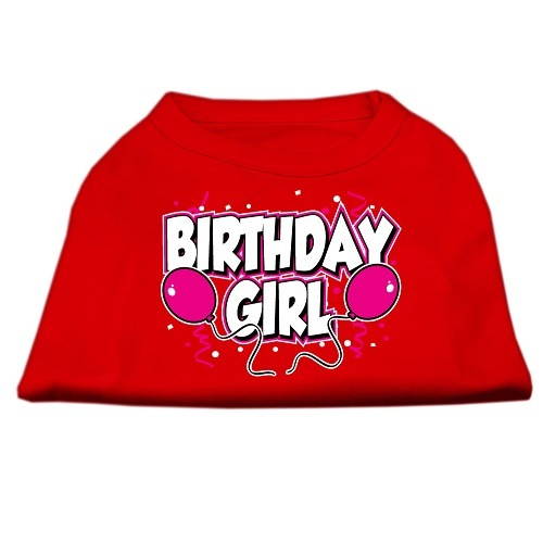 Birthday Girl Screen Print Dog Shirt - Red | The Pet Boutique