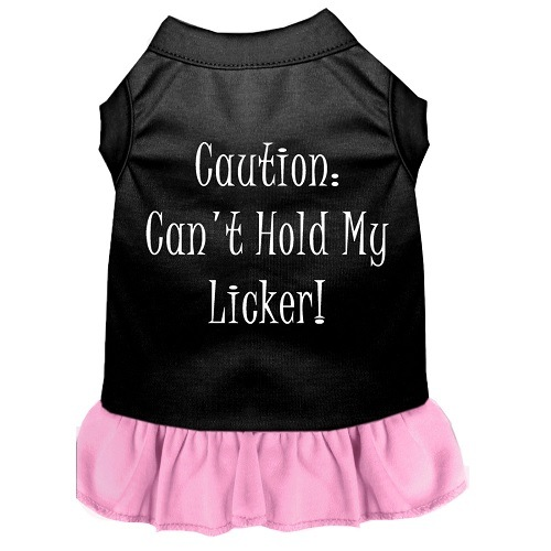 Can't Hold My Licker Screen Print Pet Dress - Color Combo - Black with Light Pink | The Pet Boutique