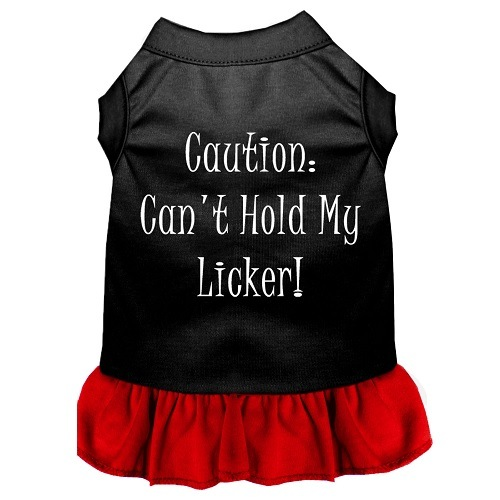 Can't Hold My Licker Screen Print Pet Dress - Color Combo - Black with Red | The Pet Boutique