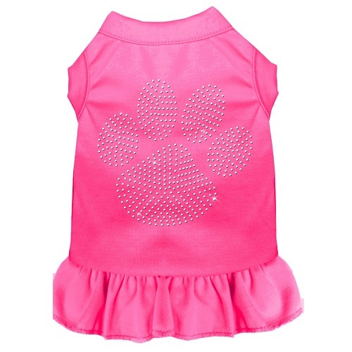Clear Paw Rhinestone Pet Dress - Bright Pink   The Pet Boutique