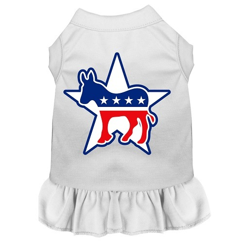 Democrat Screen Print Pet Dress - White | The Pet Boutique