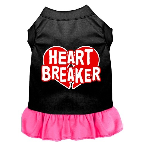 Heart Breaker Screen Print Pet Dress - Color Combo - Black with Bright Pink   The Pet Boutique