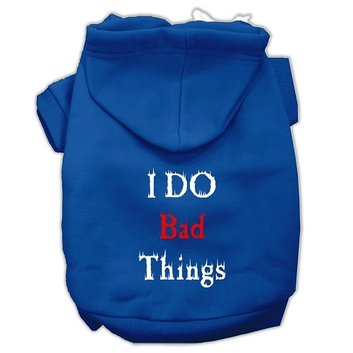I Do Bad Things Screen Print Pet Hoodie - Blue | The Pet Boutique