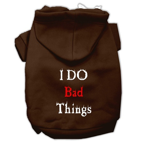 I Do Bad Things Screen Print Pet Hoodie - Brown | The Pet Boutique