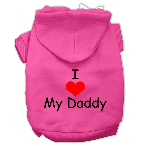 I Love My Daddy Screen Print Pet Hoodie - Bright Pink | The Pet Boutique